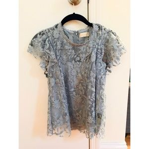 Altar'd State Blouse with Sheer Overlay